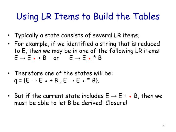 Using LR Items to Build the Tables