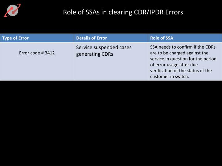 Role of SSAs in clearing CDR/IPDR Errors