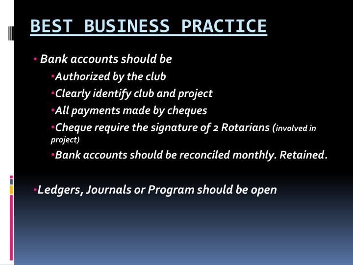 Bank accounts should be
