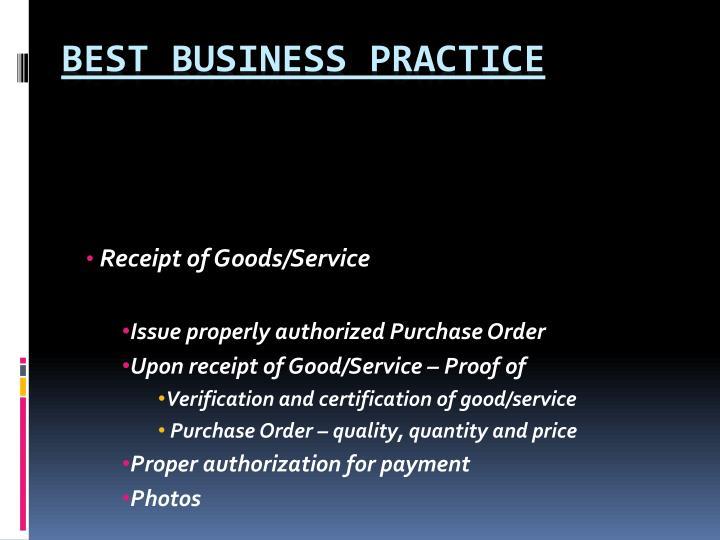 Receipt of Goods/Service