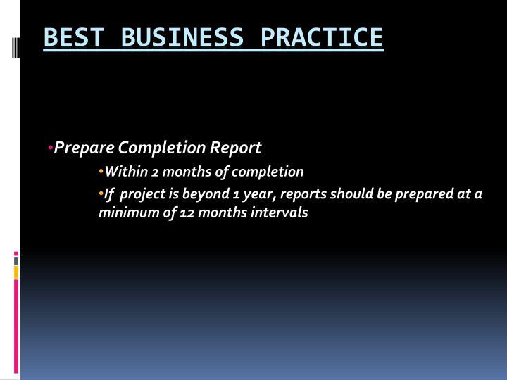 Prepare Completion Report