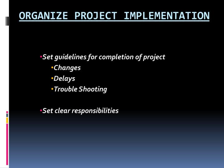 Set guidelines for completion of project