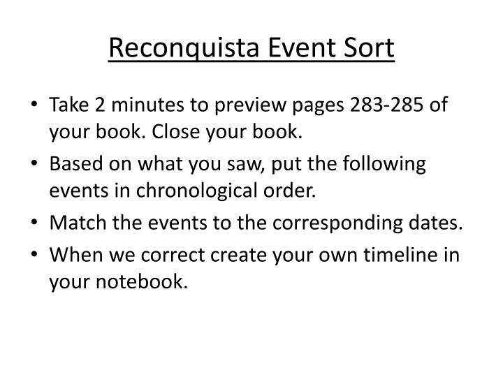 Reconquista Event Sort