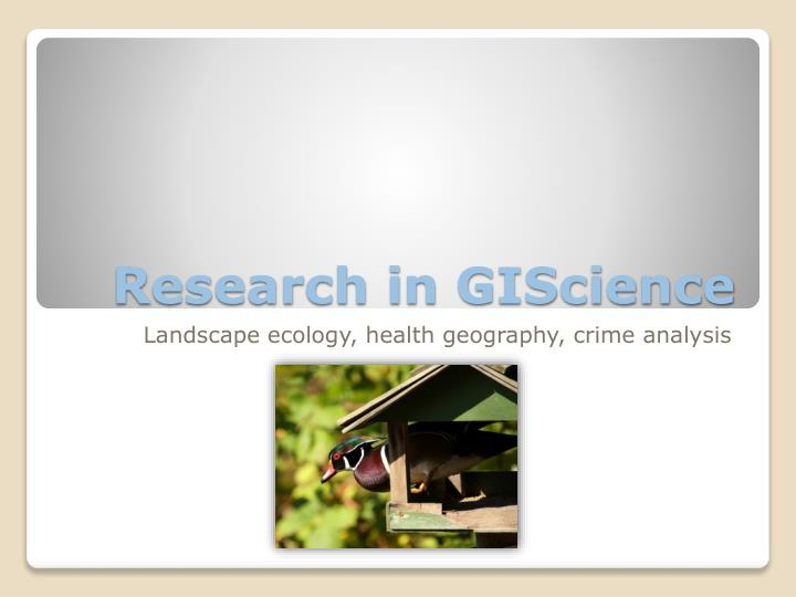 Research in giscience