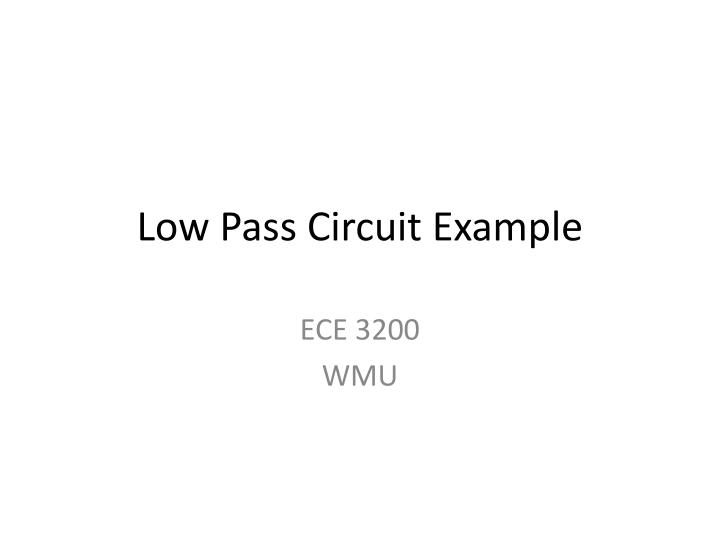 low pass circuit example