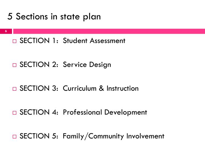 5 Sections in state plan