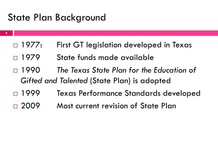 State Plan Background