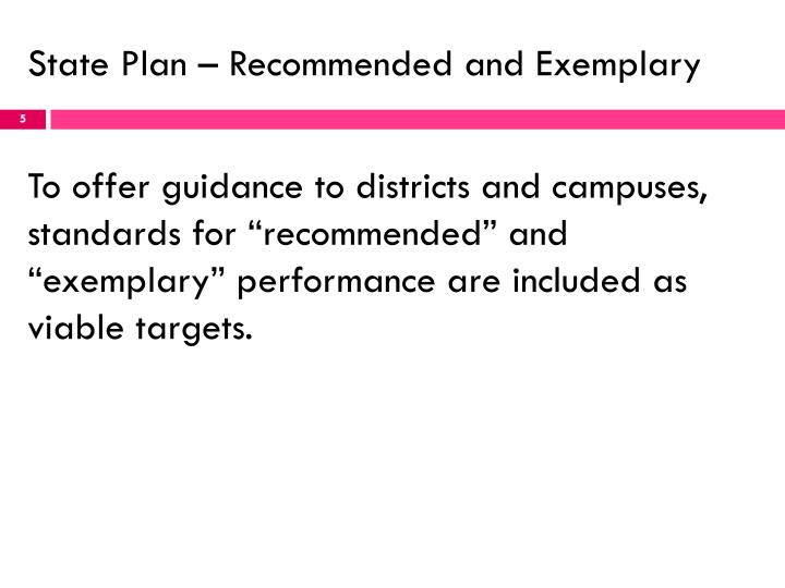 State Plan – Recommended and Exemplary