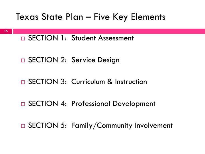Texas State Plan – Five Key Elements