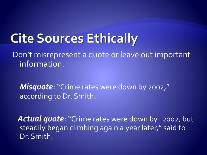 Cite Sources Ethically