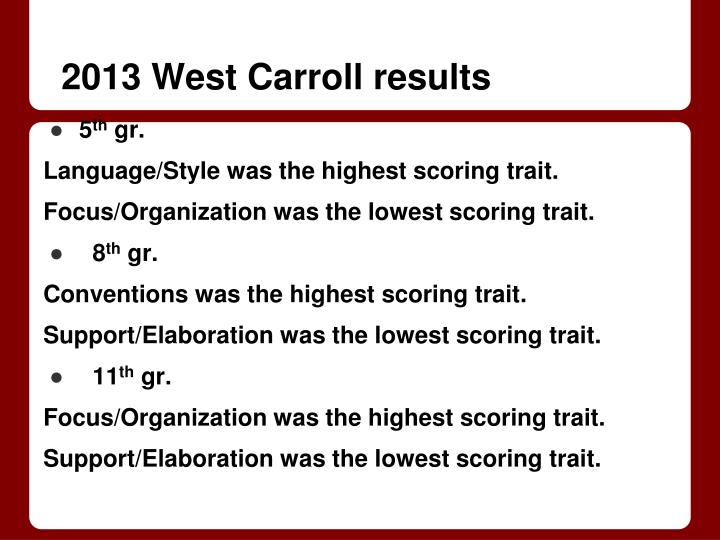 2013 West Carroll results