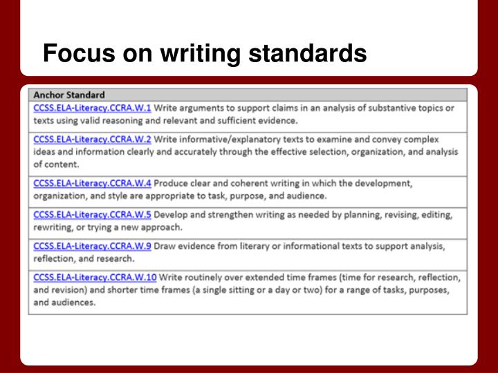 Focus on writing standards