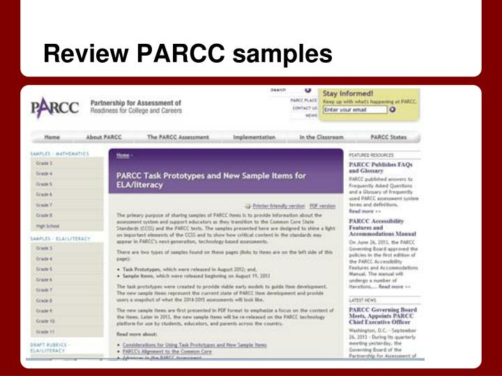 Review PARCC samples