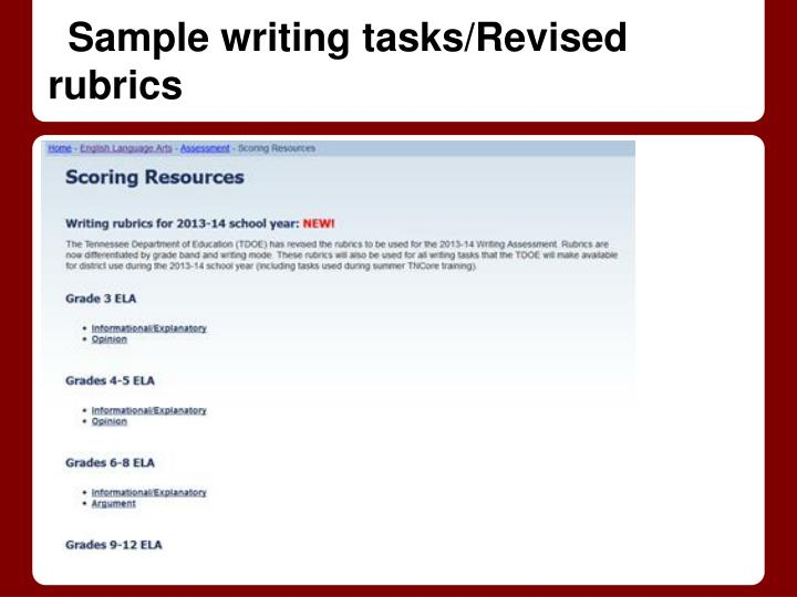 Sample writing tasks/Revised rubrics