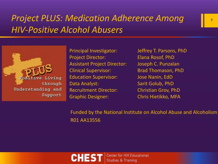 Project PLUS: Medication Adherence Among HIV-Positive Alcohol Abusers
