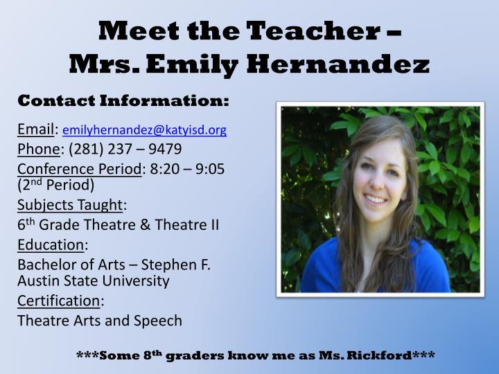 Meet the Teacher –