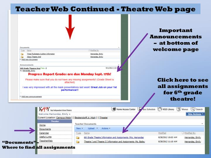 Teacher Web Continued - Theatre Web page