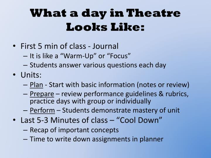 What a day in Theatre Looks Like: