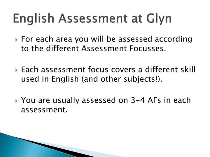 English Assessment at Glyn