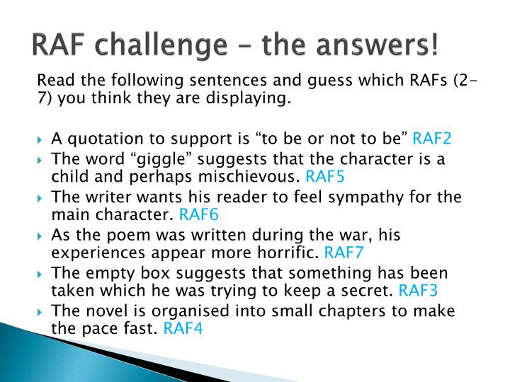 RAF challenge – the answers!