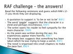 raf challenge the answers