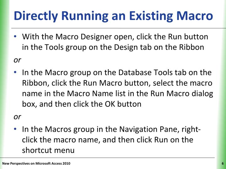 Directly Running an Existing Macro