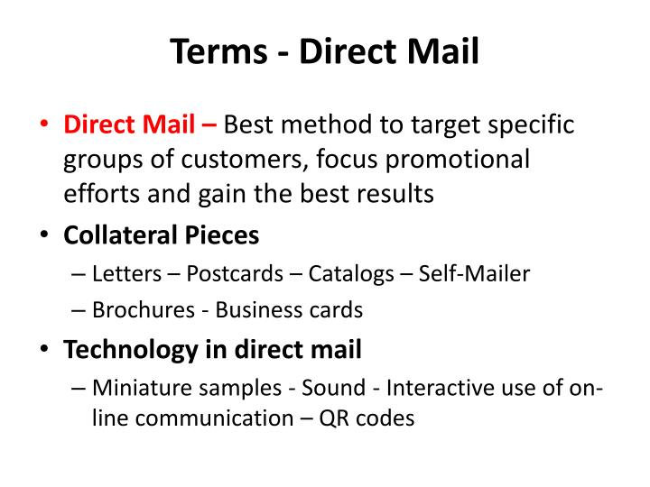 Terms - Direct Mail