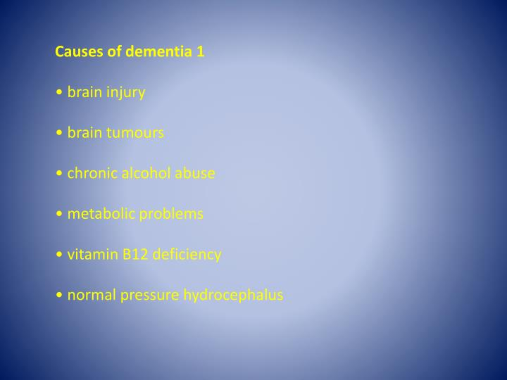 Causes of dementia 1