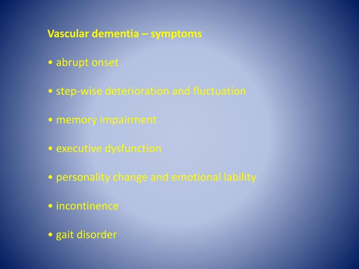 Vascular dementia – symptoms