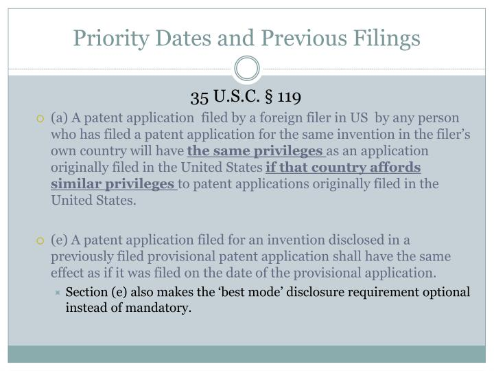 Priority Dates and Previous Filings