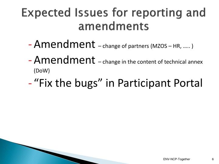 Expected Issues for reporting and amendments