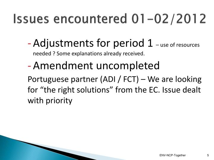 Issues encountered 01-02/2012