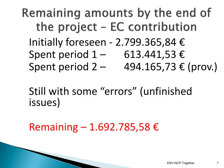 Remaining amounts by the end of the project – EC contribution