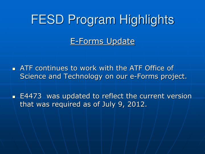 FESD Program Highlights