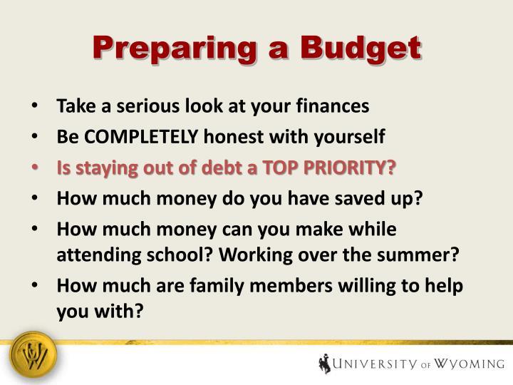 Preparing a Budget