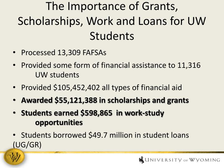 The Importance of Grants, Scholarships, Work and Loans for UW Students