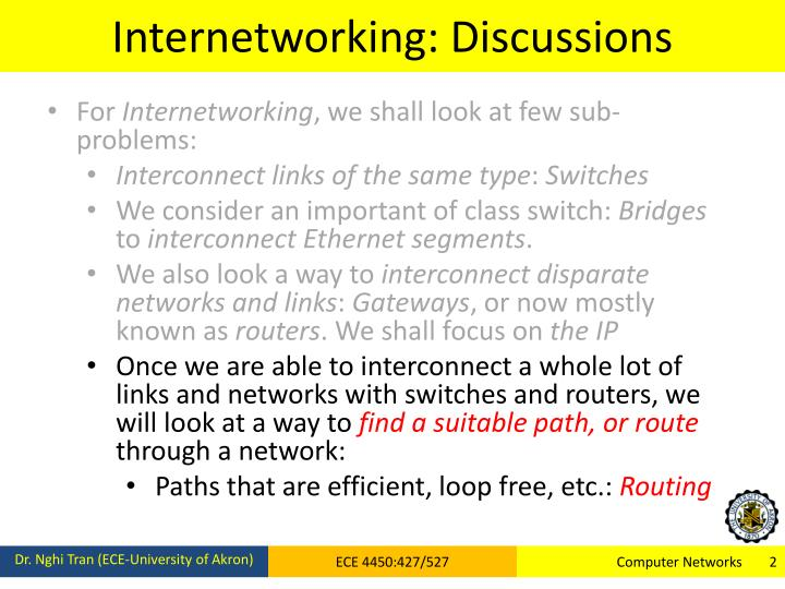 Internetworking: Discussions