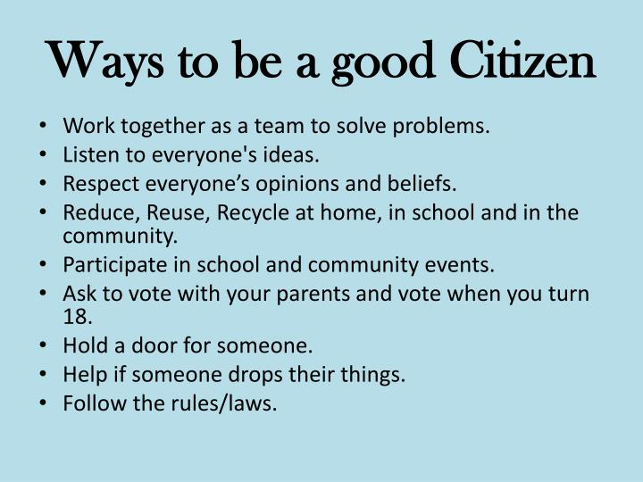 Ways to be a good Citizen