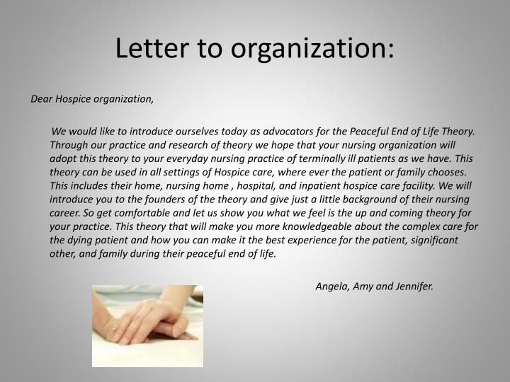 Letter to organization: