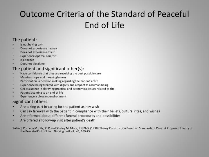 Outcome Criteria of the Standard of Peaceful End of Life