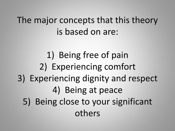 The major concepts that this theory is based on are: