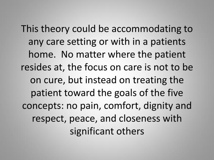 This theory could be accommodating to any care setting or with in a patients home.  No matter where the patient resides at, the focus on care is not to be on cure, but instead on treating the patient toward the goals of the five concepts: no pain, comfort, dignity and respect, peace, and closeness with significant others