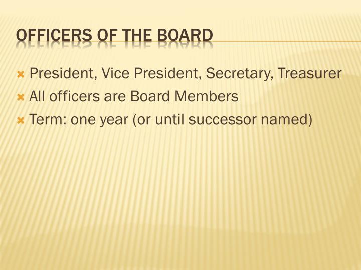 President, Vice President, Secretary, Treasurer