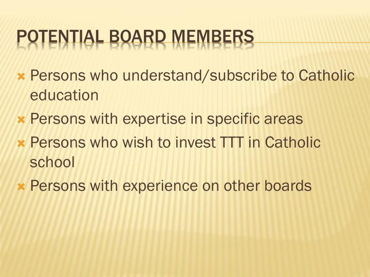 Persons who understand/subscribe to Catholic education