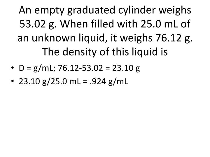 An empty graduated cylinder weighs 53.02 g. When filled with 25.0 mL of an unknown liquid, it weighs 76.12 g. The density of this liquid is