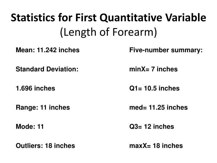 Statistics for First Quantitative Variable