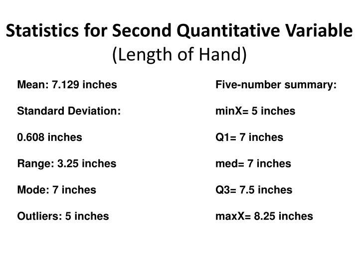 Statistics for Second Quantitative Variable