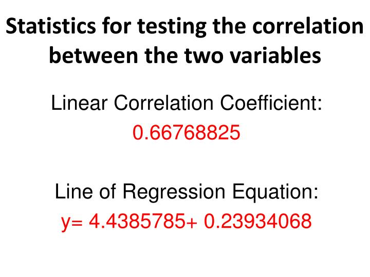 Statistics for testing the correlation between the two variables