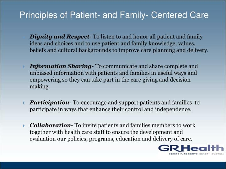 Principles of patient and family centered care