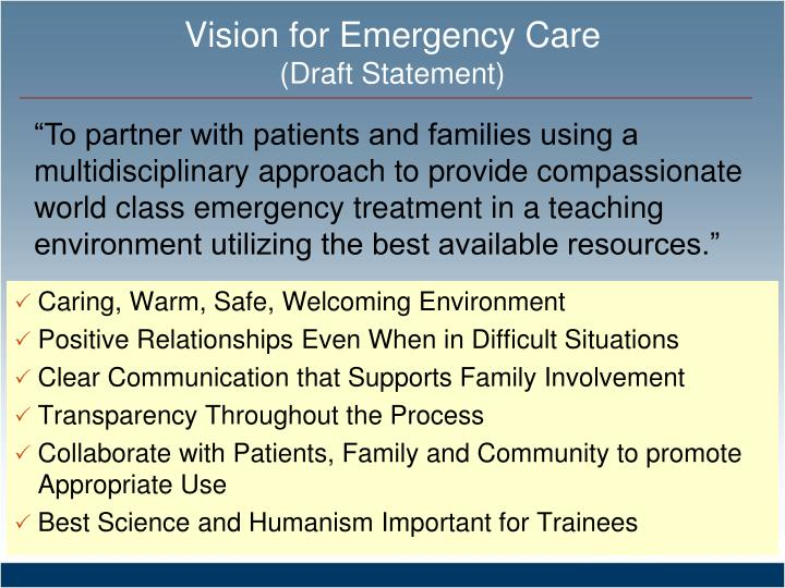 Vision for Emergency Care